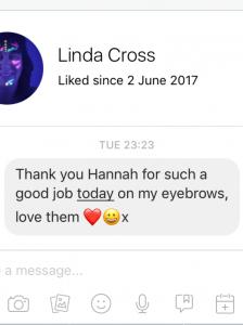 Linda Cross Brow Testimonial for Hannah Stone
